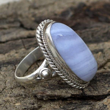 Rings Natural Blue Lace Agate Gemstone Ring 925 Sterling Silver