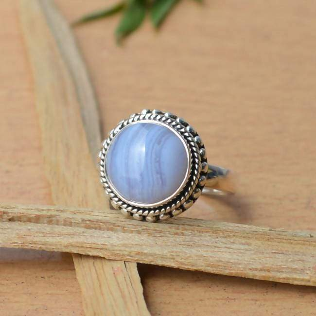 Blue Lace Agate Macrame ring