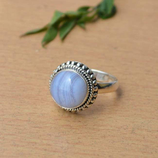 Rings Natural Blue Lace Agate Ring 925 Sterling Silver Designer Cabochon Stone Round Cab