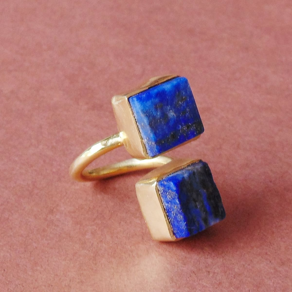 Natural Blue Lapis Lazuli September Birthstone Gold Plated Bypass Ring - by Bhagat Jewels