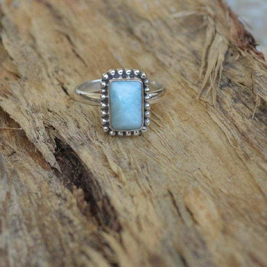 Natural Blue Larimar Gemstone 925 Sterling Silver Ring Pectolite 22K Yellow Gold Filled Rose