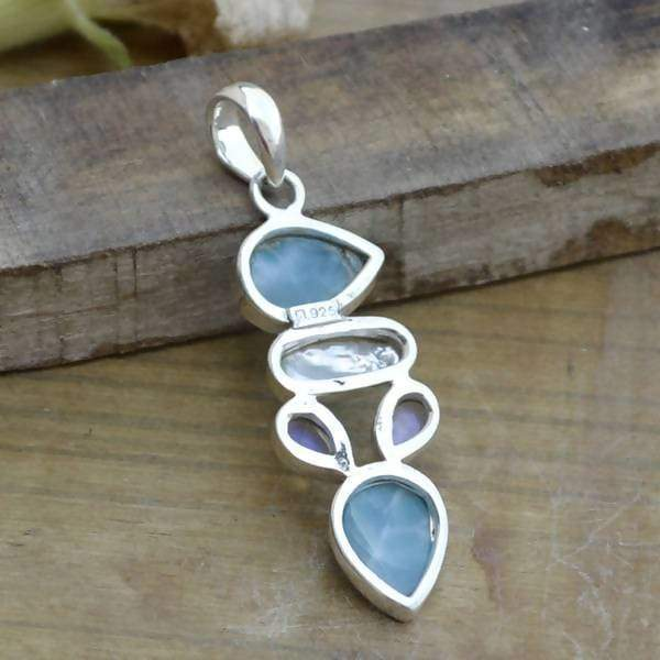 Necklaces Natural Blue Larimar pendant - Fresh Water Pearl Rainbow Moonstone 925 Sterling Silver Pendant Jewelry - Designer necklace