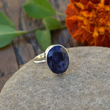 Rings Natural Blue Sapphire Gemstone 925 Sterling Silver Handmade Gift Ring