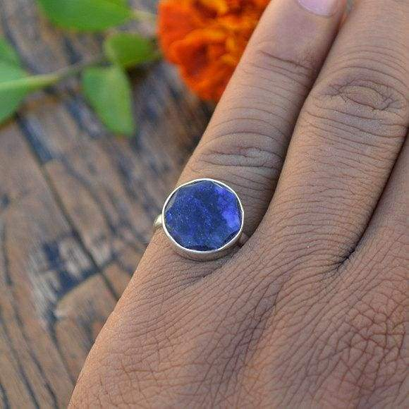 Rings Natural Blue Sapphire Gemstone Ring 925 Sterling Silver Bezel Round