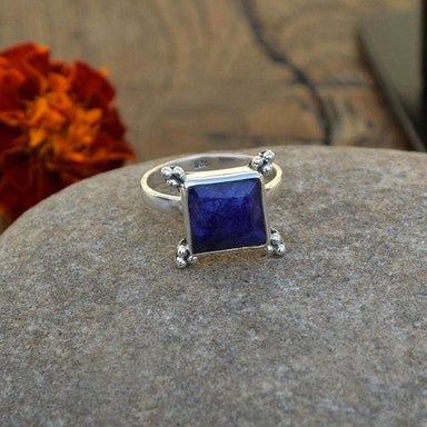 Rings Natural Blue Sapphire Gemstone Ring -925 Sterling Silver