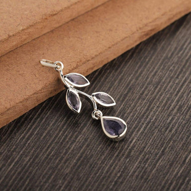 Natural Blue Topaz Pendant Smoky Quartz iolite Purple Amethyst Designer Unique Solid Silver