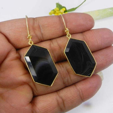 Earrings Natural Botswana Agate Gemstone Gold Plated Bezel Set Dangle Earring Jewelry