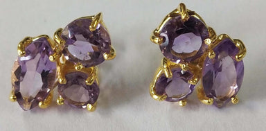 Earrings Natural Brazil Amethyst Round & Marquees Sterling Silver 18crt Gold Plated Studs - by TJ GEMS