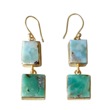 Natural Chrysoprase And Larimar Dual Gemstone Bezel Set Dangle Earrings