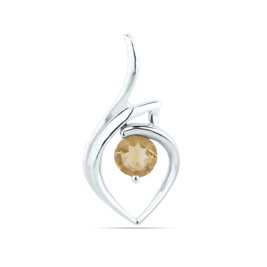 Natural Citrine Pendant - Round Sterling Silver - by UniqueSilverZone