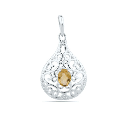 Natural Citrine Pendant - Unique - November Birthstone - Birthday Gift - Anniversary Gift- Solid 925 Sterling Silver
