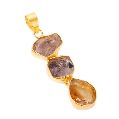 Natural Citrine And Raw Herkimer Diamond Healing Stone Designer Pendant