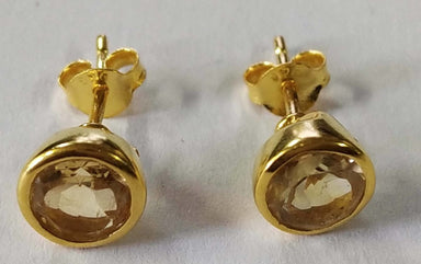 Earrings Natural Citrine Round Normal Cut Sterling Silver 18crt Gold Plated Studs - by TJ GEMS