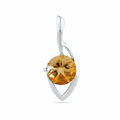 Natural Citrine Round Pendant November birthstone sterling silver natural gemstone Birthstone 20x8mm
