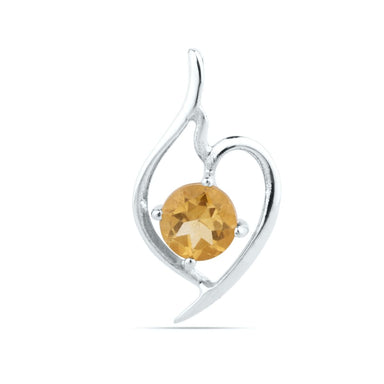 Natural Citrine Round Sterling Silver Pendant