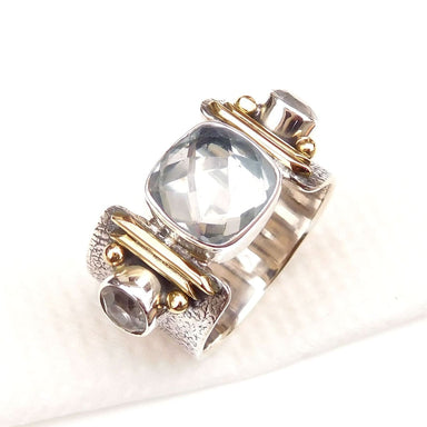 rings Natural Clear quartz Ring Crystal 925 Sterling Silver Fine Nickel Free - by Adorable Craft