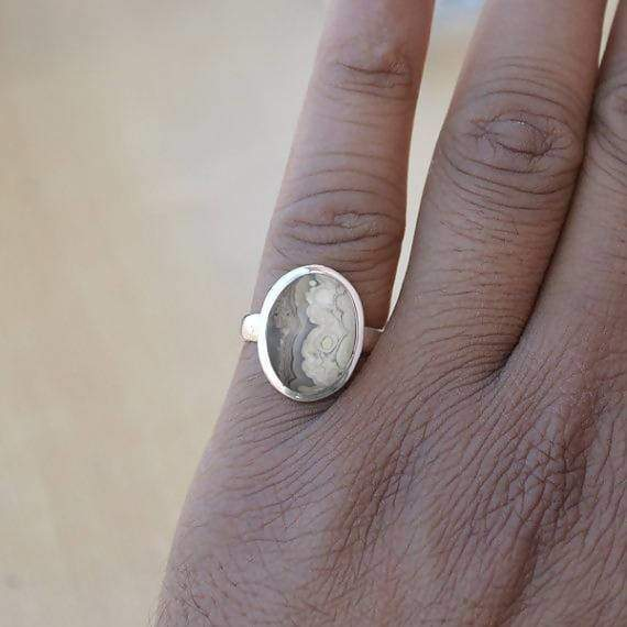 Rings Natural Crazy Lace Agate Gemstone 925 Sterling Silver Artisan Handmade Gift Ring Jewelry