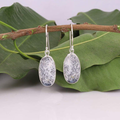 Natural Dendritic Opal Handmade 925 Solid Silver Earring Sterling Gemstone Women's Dangler