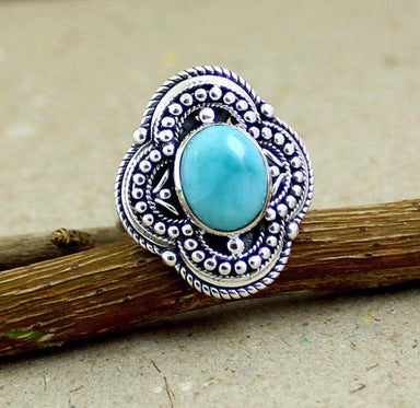 Rings Natural Dominican larimar Filigree Ring,925 sterling silver Jewelry