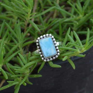 Rings Natural Dominican Larimar Ring 925 Sterling Silver