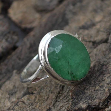 Rings Natural Emerald Gemstone 925 Sterling Silver Ring- May Birthstone Gift Ring
