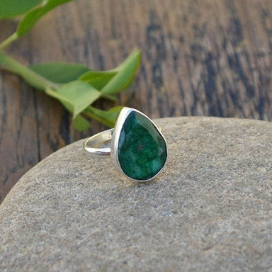 Rings Natural Emerald Gemstone 925 Sterling Silver Ring