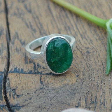 Rings Natural Emerald Gemstone Ring - 925 Sterling Silver