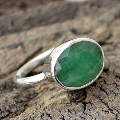 Rings Natural Emerald Gemstone Ring Oval Faceted 925 Sterling Silver