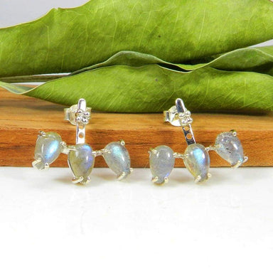 Natural fiery labradorite 925 sterling silver prong set stud earring