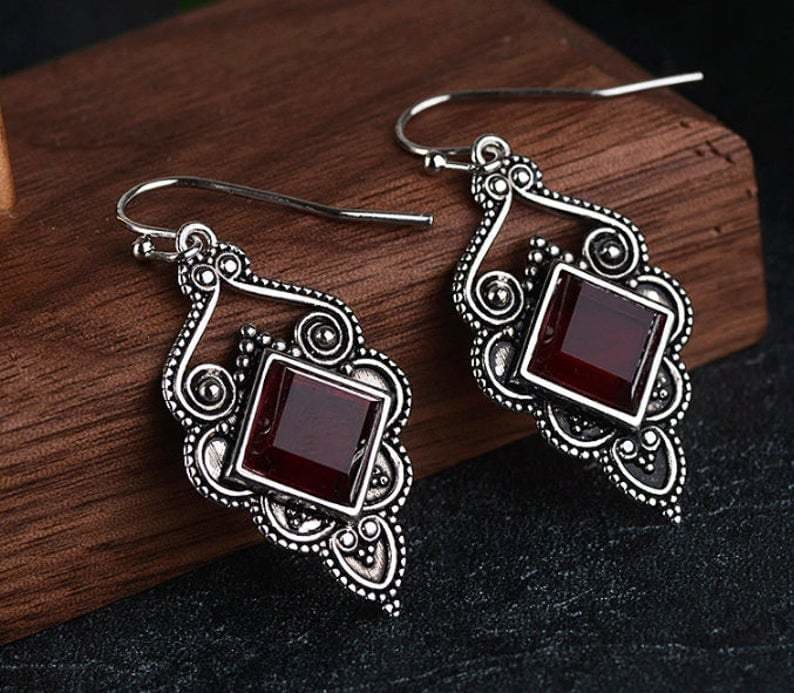 Natural garnet earrings bridesmaid boho wedding jewelry 925 Sterling silver Silver Handmade - by GIRIVAR CREATIONS