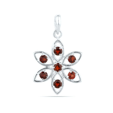 Natural Garnet Pendant Sterling Silver Flower Red January Birthstone Round