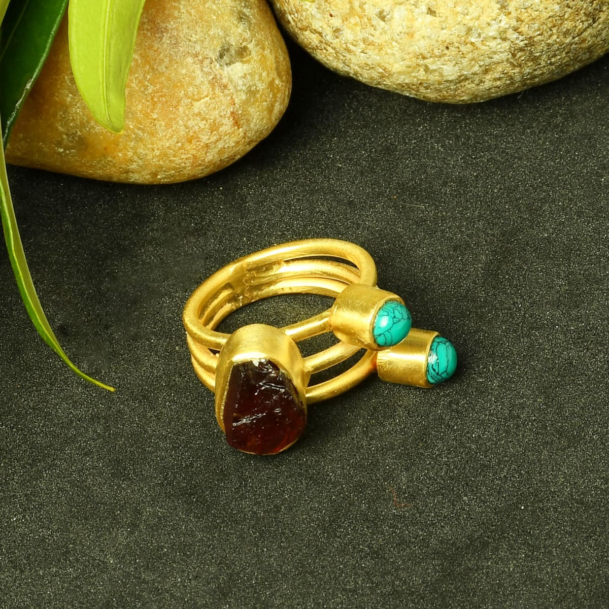 Natural Garnet And Turquoise Gemstone Triple Stacking Fashion Ring - by Bhagat Jewels