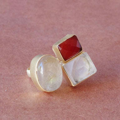 Natural Golden Rutile Quartz Red Onyx And Crystal Gemstone Women Birthday Gift Adjustable Ring - by Bhagat Jewels