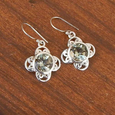 Earrings Natural Green Amethyst Round Cut Prasiolite Gemstone 925 Sterling Silver Statement Solid Dangle