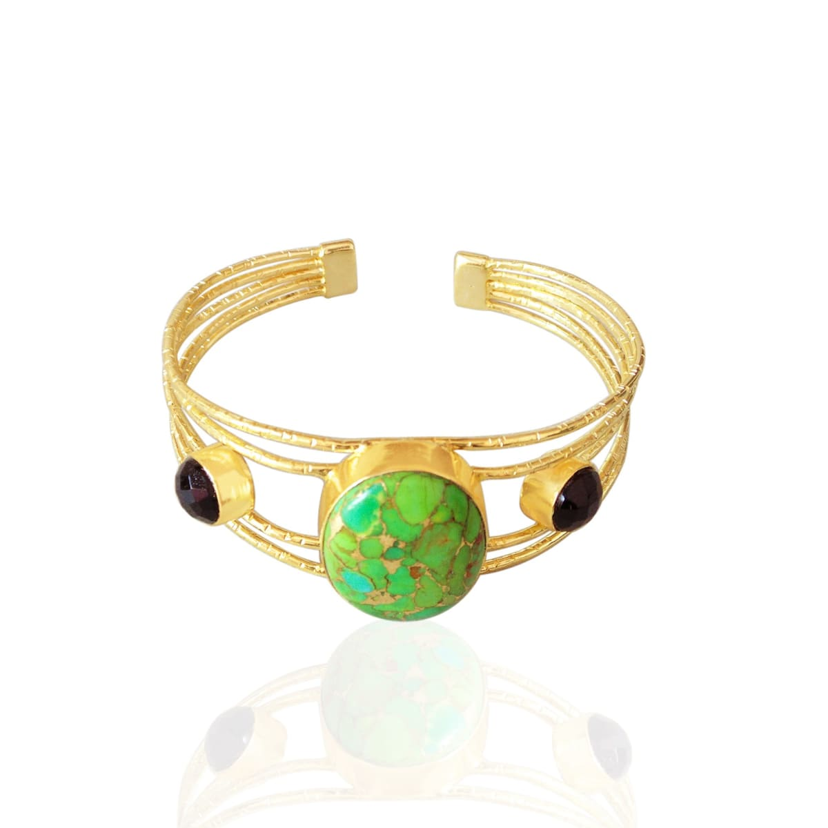 Natural Green Copper Turquoise And Black Onyx Two Gemstone Designer Cuff Bracelet - by Bhagat Jewels