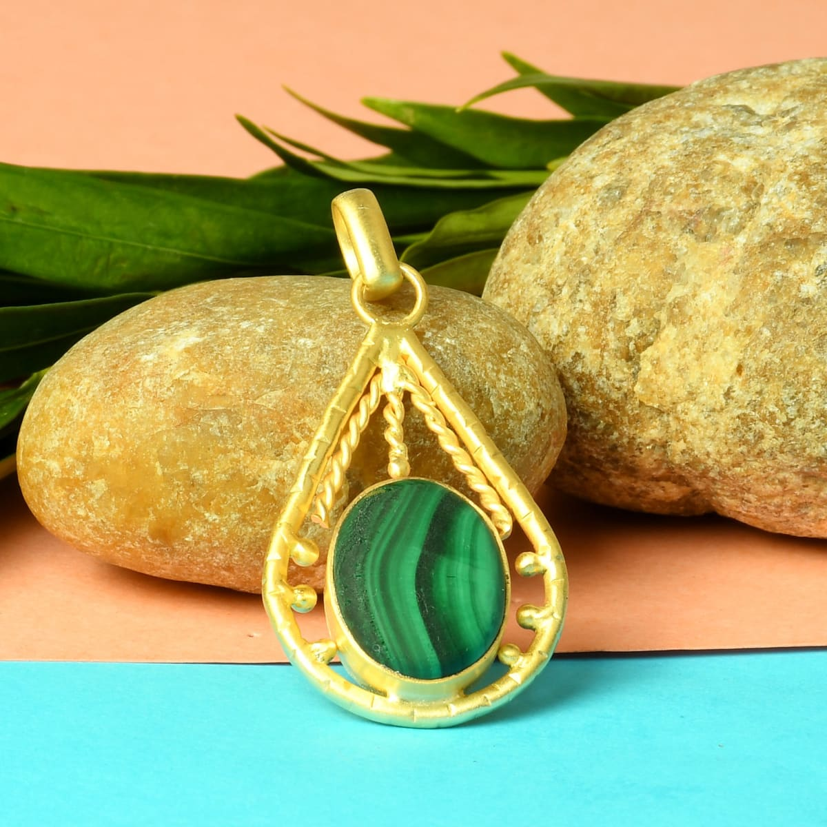 Natural Green Malachite Gemstone Twisted Wire Drop Pendant - by Bhagat Jewels
