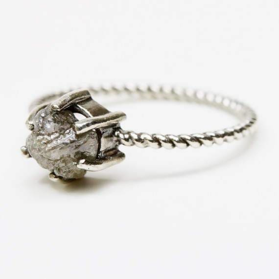 Rings Natural grey color rough diamond ring in prongs setting with oxidized sterling silver twist design band