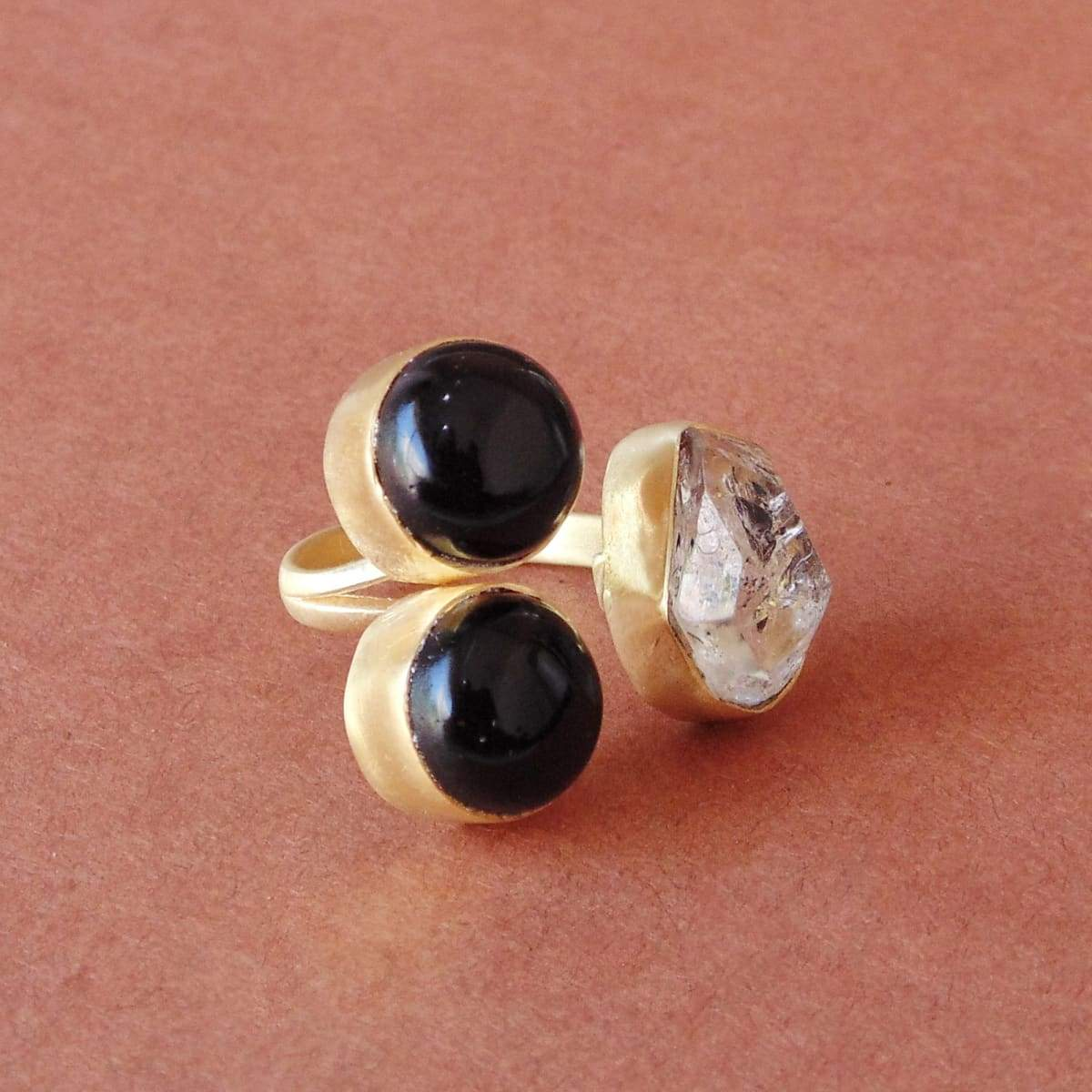 Natural Herkimer Diamond And Black Onyx Birthstone Mother's Ring - by Bhagat Jewels