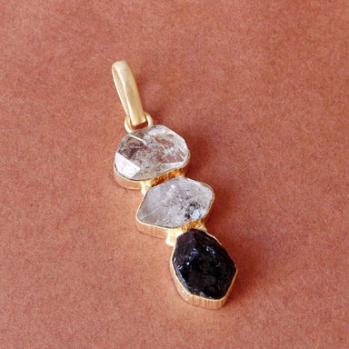 Healing Stone Natural Herkimer Diamond And Garnet Gemstone Sister Christmas Gift Pendant - by Bhagat Jewels