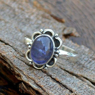 Rings Natural Iolite Gemstone Ring -Bezel Set Designer -Birthday Gift
