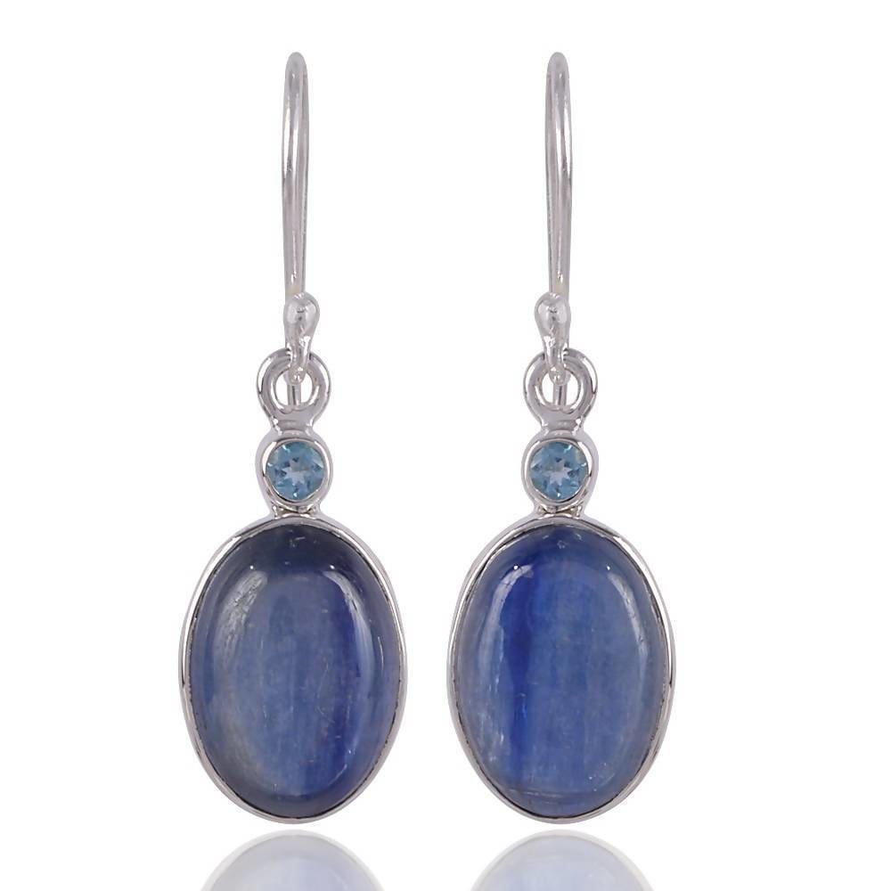 Earrings Natural Kyanite Cabochon and Swiss Blue Topaz Gemstone Handcrafted Sterling Silver Earring