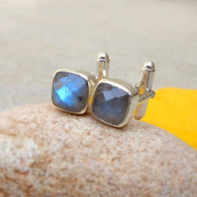 Accessories Natural Labradorite Cushion Shape Cufflinks sterling silver cufflink Faceted Gift for him Father Gifts