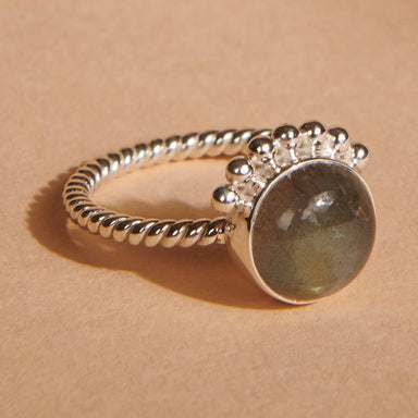 Rings Natural Labradorite Half Sunrise Silver Ring Stone Sun-Style Jewelry Handmade Sun Stacking Boho Dainty - by Finesilverstudio