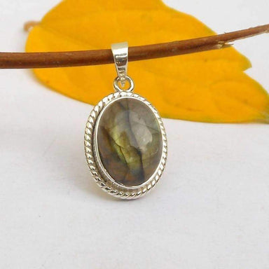 Necklaces Natural Labradorite Pendant in 925 Silver Bezel Set Artisan Cabochon Green fire Oval PendantLabradorite Twist