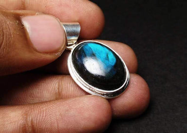 Necklaces Natural Labradorite Pendant 925 Sterling Silver Gemstone Blue Flashy Birthstone