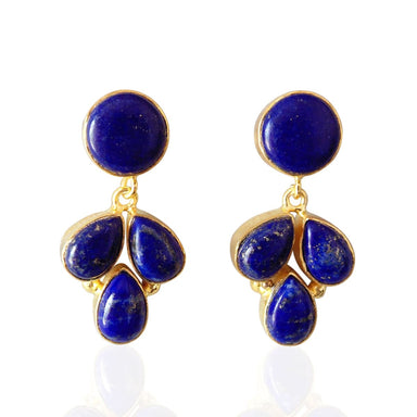 Natural Lapis Lazuli Cabochon Gemstone Designer Earrings In 18K Gold Plated - by Bhagat Jewels