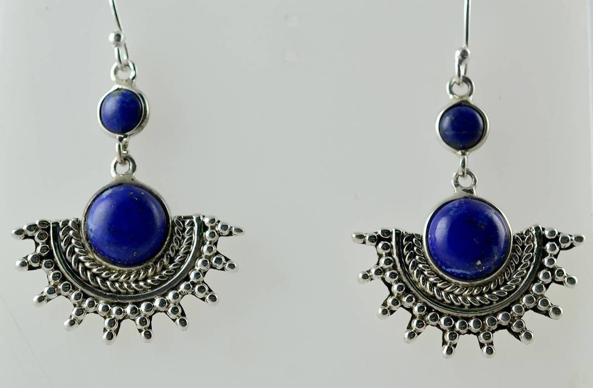 Earrings Natural Lapis Lazuli designer Handmade Dangle Drop 925 Solid Sterling Silver