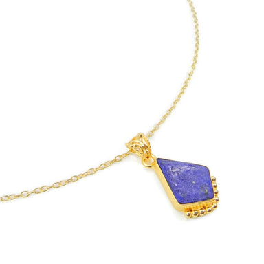 Necklaces Natural Lapis Lazuli Necklace Handmade Bezel Pendant with Gold Plated Brass Chain