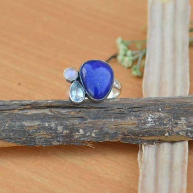 Rings Natural Lapis Lazuli Ring Fancy Cabochon Blue Topaz Rainbow Moonstone 925 Sterling Silver Semi Precious Stone - Title by jaipur art