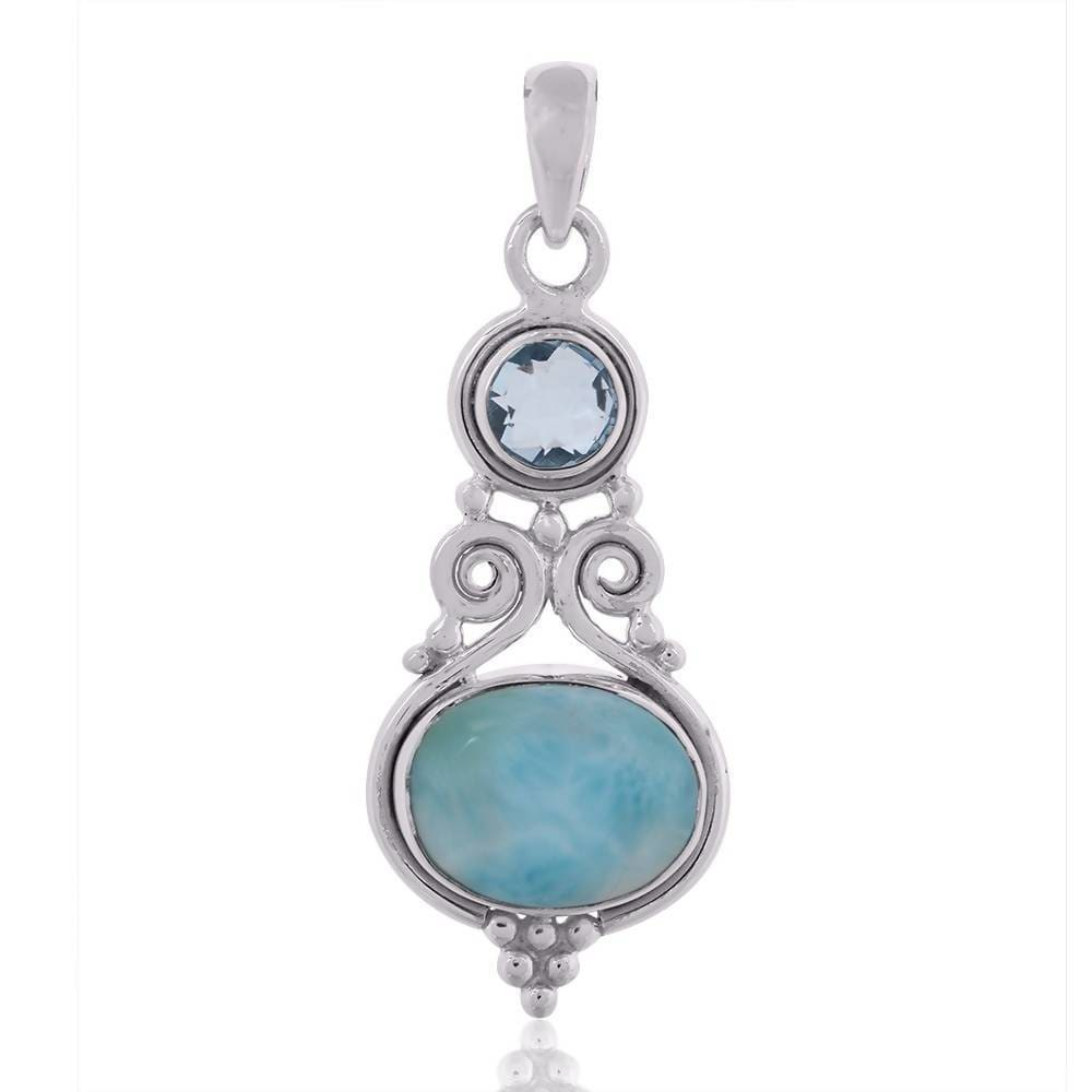 Necklaces Natural Larimar Sky Blue Topaz Gemstone 925 Sterling Silver Handmade Pendant